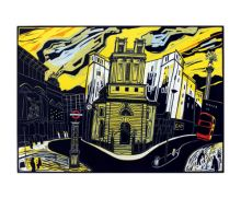 The City Linocut - Colin Moore Art Greeting Card
