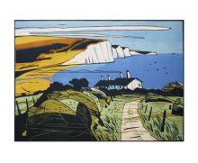 Seven Sisters Linocut - Colin Moore Art Greeting Card
