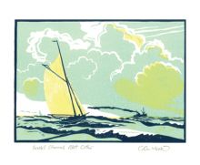 Bristol Channel Pilot Cutter linocut by Colin Moore