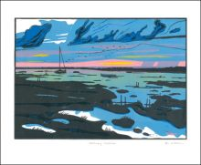 Blakeney Marshes linocut by Colin Moore