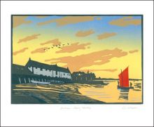 Burnham Overy Staithe linocut by Colin Moore