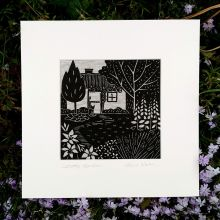 Cottage Garden LINEN PRINT BY GAIL KELLY ALGAN ARTS