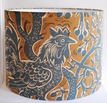 Handmade Drum Lampshade in St Jude's Bantam Bough fabric by Mark Hearld