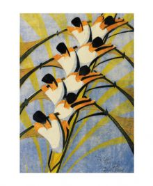 The Eight 1930 linocut by Cyril Power Art Greeting Card