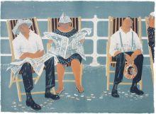 Deckchairs Lithograph by Robert Tavener