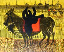 Donkeys and Pier Linocut by Robert Tavener