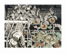 'Autumn, 1950' linocut by Edward Bawden