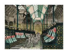 Covent Garden c 1967 linocut - Edward Bawden Art Greeting Card