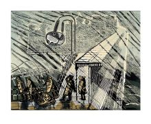 'Snowstorm at Brighton, 1956' linocut by Edward Bawden