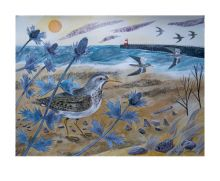 Sandpipers with Sea Holly Watercolour by Emily Sutton