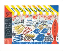 F for Fishmonger by Emily Sutton Greeting Card (