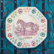 Victorian Crockery 'Zebra' Watercolour by Emily Sutton (