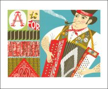 A is for Accordian  Screenprint by Emily Sutton