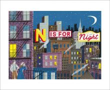 N is for Night Screenprint by Emily Sutton