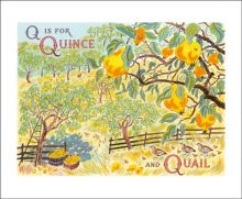 Q is for Quince and Quail Screenprint by Emily Sutton