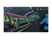 Love on the Underground linocut - Gail Brodholt Art Greeting Card (