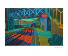 First Light at Farringdon linocut - Gail Brodholt Art Greeting Card
