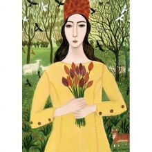 Girl With Tulips By Dee Nickerson