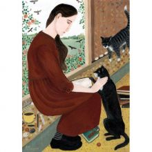 In Her Own Space With Two Cats By Dee Nickerson