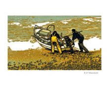 Getting off the Beach Linocut by H J Jackson