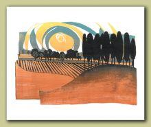 Honeybourne Evening Greeting Card by Ian Phillips Linocut Artist