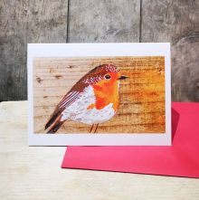 Hope the Robin painting on wood by Liz Toole