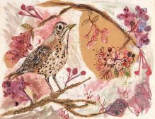A5 Song Thrush and the Cherry Blossom blank greeting card