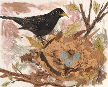 A5 The Blackbird Nest blank greeting card.