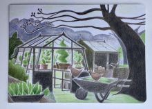 The Greenhouse English Garden Greeting Card By Katy Alston