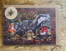 A5 Winter Badger blank greeting card.