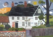 Virginia Woolf - Greeting Card - Monk's House - Bloomsbury Group - Sussex Cottage - Naive Art - Collage - Writers' Houses - Garden