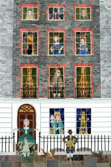 Ben Franklin - Greeting Card - Georgian London - American Revolution - Naive Art - Collage - USA - War of Independence - Cats