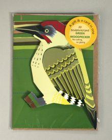 Green woodpecker Card, Paper Art. By Faye Stevens