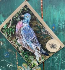 A5 Wood pigeon and Ivy Berries By Clare O'Neill Artworks