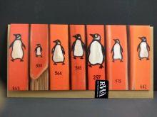 Orange Penguins Book Art Card from an original oil painting