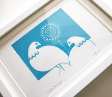 Winter Ptarmigan in Mid Blue - Hand Pulled, Signed, Gocco Screen Print by Dee Beale