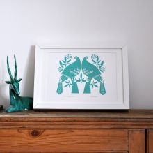 Winter Doves in Dark Teal - Hand Pulled, Gocco Screen Print by Dee Beale