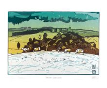 'Snow Over Chirk Castle' linocut by Ian Phillips