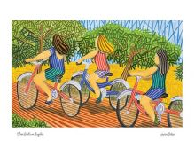 Three Girls on Bicycles By Javier Ortas