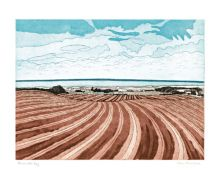 Brancaster Bay etching - John Brunsdon Art Greeting Card