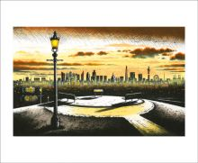 London from Primrose Hill Hand coloured etching by John Duffin