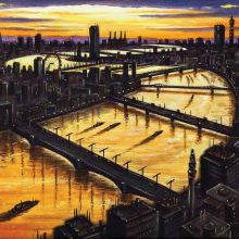 Thames Dawn (London Bridge to Battersea) John Duffin Fine Art Greetings Cards