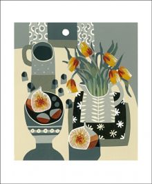 Tulips and Fig Linocut by Jane Walker