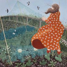 Mending the Brassica Nets by Lucy Almey Bird