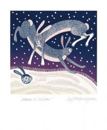'Hares in Winter' from a linocut by Linda Farquharson