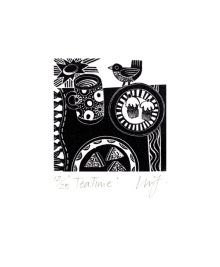 Tea Time wood engraving - Linda Farquharson Art Greeting Card