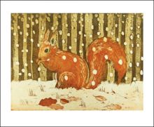 Red Squirrel in Snow  by Lisa Hooper