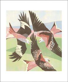 Red Kites, Laurieston Linocut by Lisa Hooper