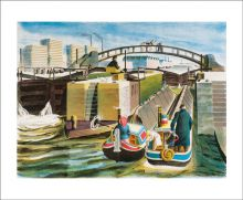 Grand Union Canal, 1938 Lithograph by Lynton Lamb