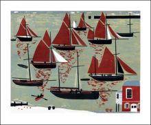 The Whitstable Oyster Fleet Linocut by Melvyn Evans